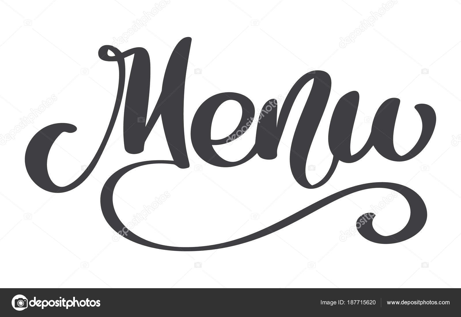 Menu Restaurant Hand Drawn Lettering Phrase Text Vector
