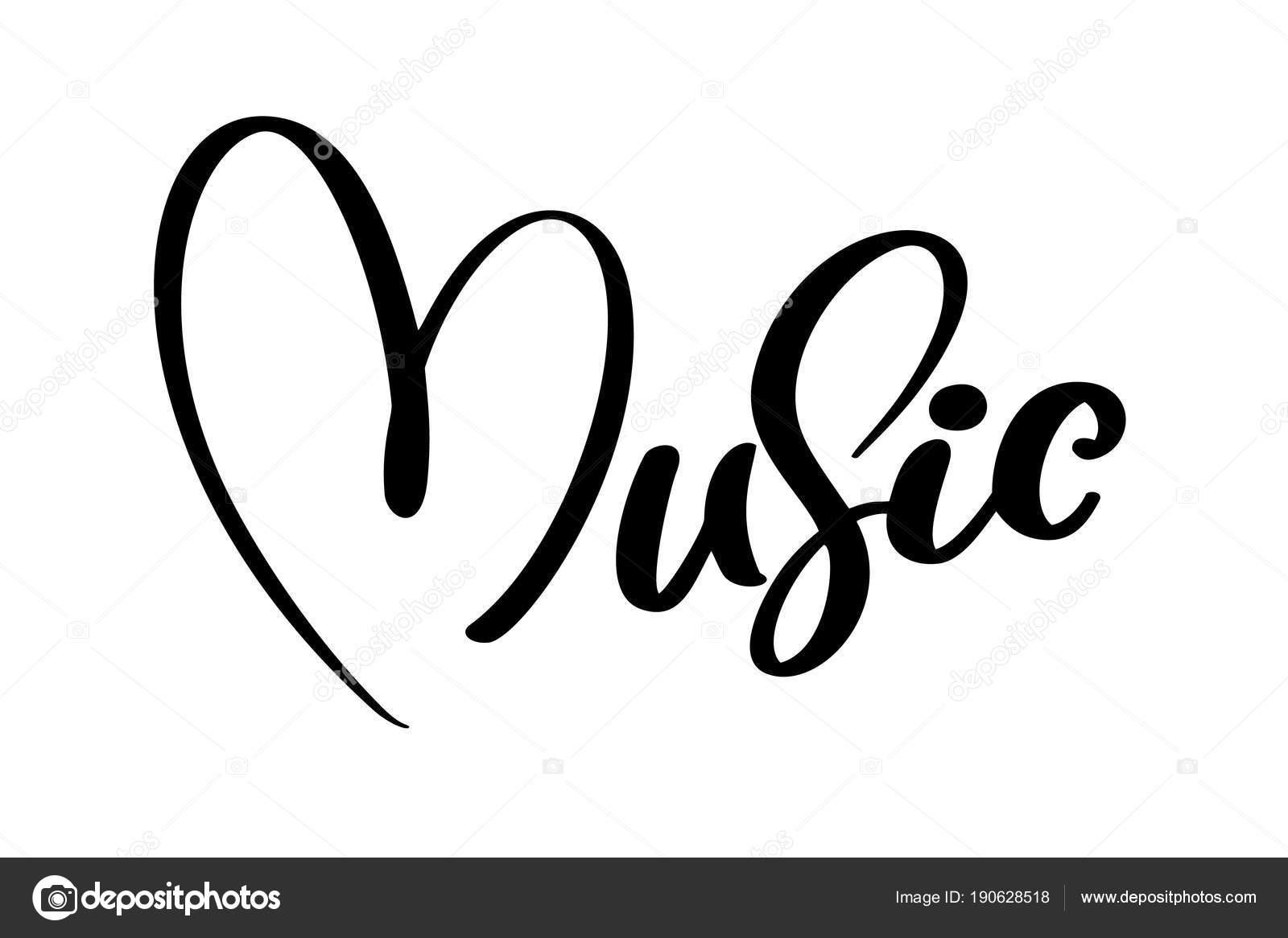 Music Sign Icon Heart Karaoke Symbol Modern Calligraphy