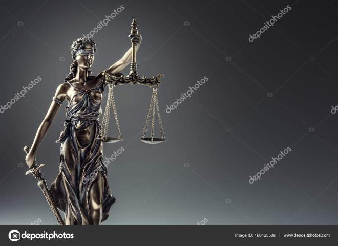 Statute of Justice. Bronze statue Lady Justice holding scales and sword  Stock Photo by ©weyo 188425586