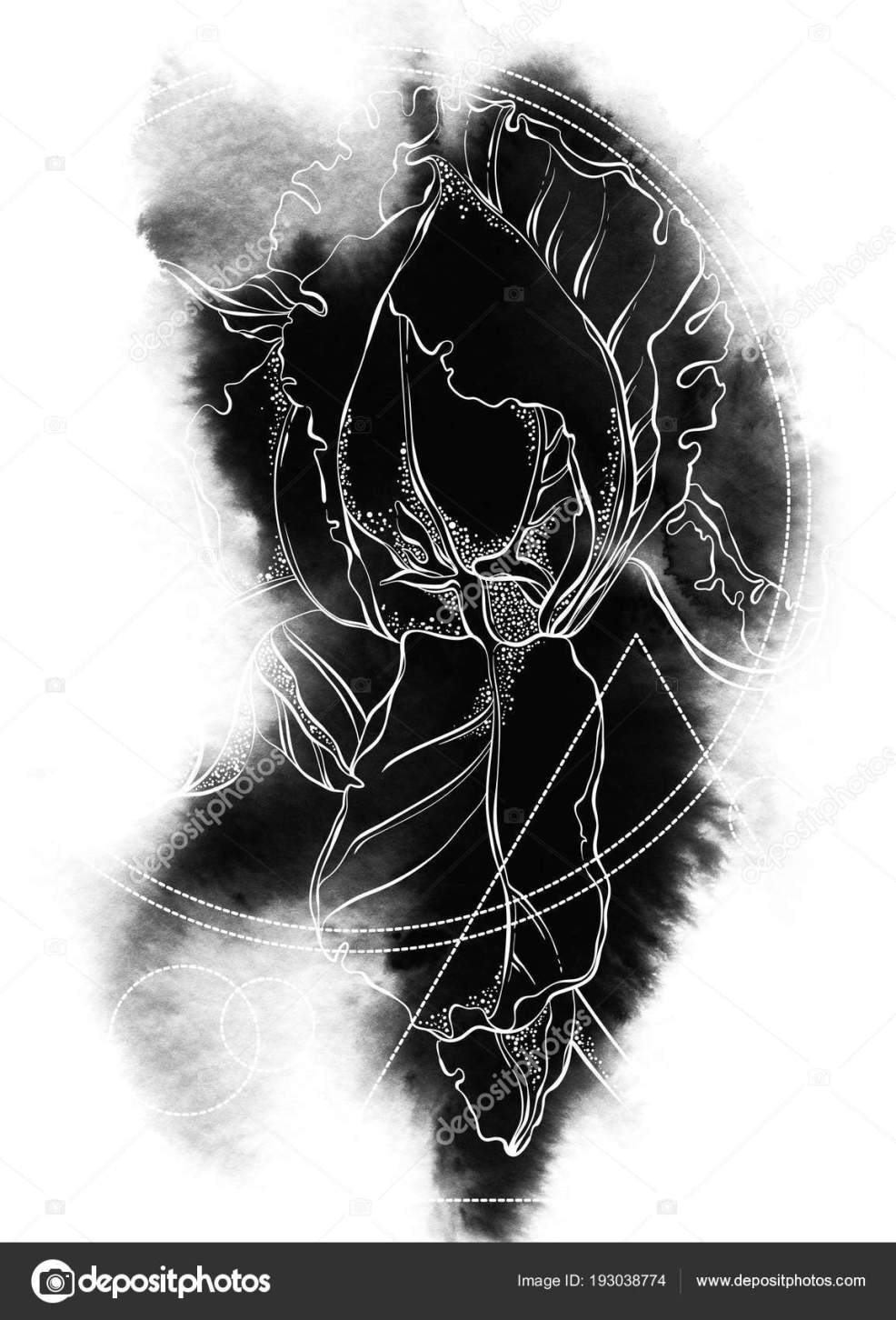 эскиз татуировки цветок ириса геометрические фигуры пятно краски
