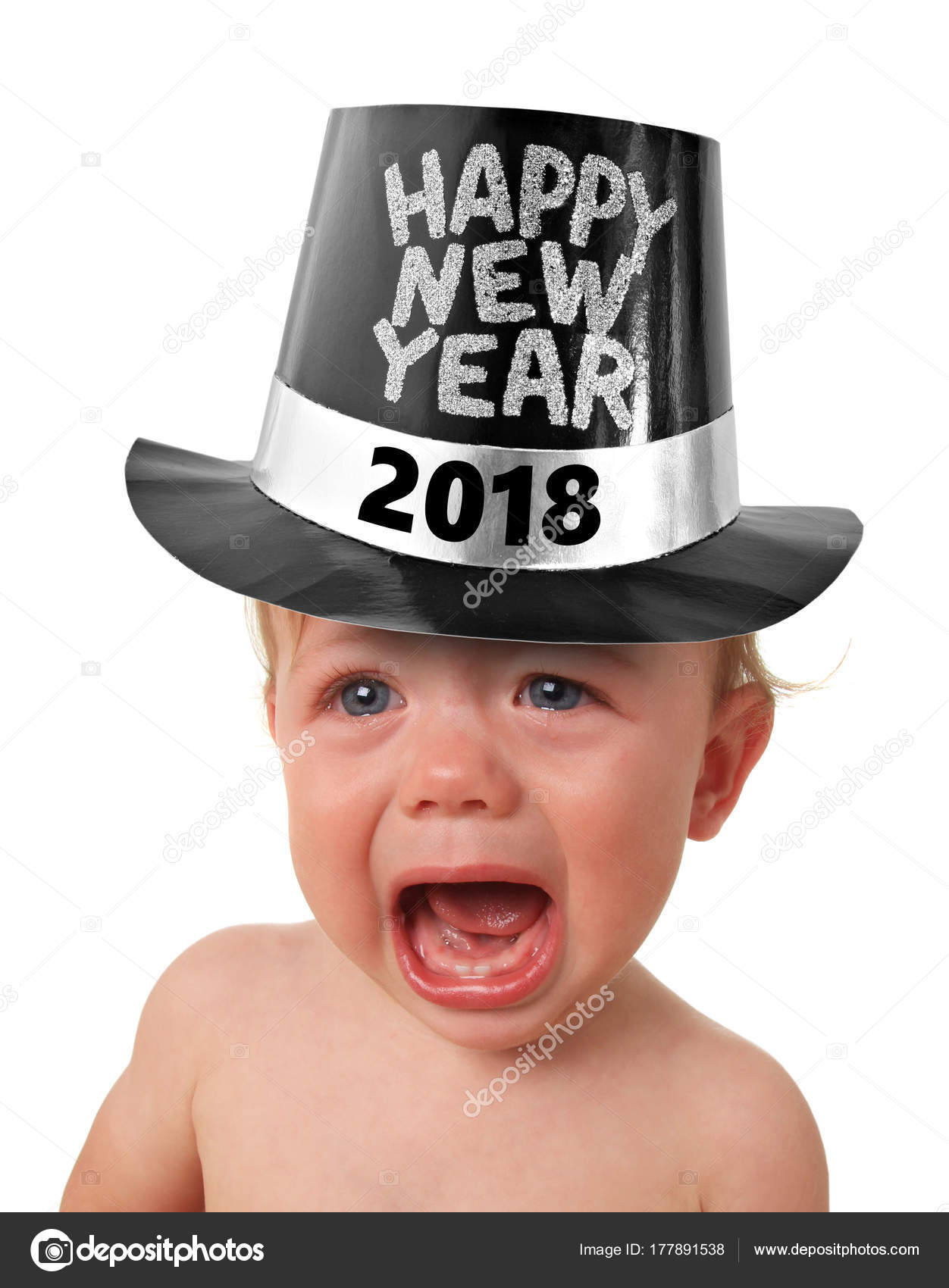 Crying New year baby     Stock Photo      Hannamariah  177891538 Crying baby boy wearing a Happy New Years 2018 hat  studio isolated on  white      Photo by Hannamariah