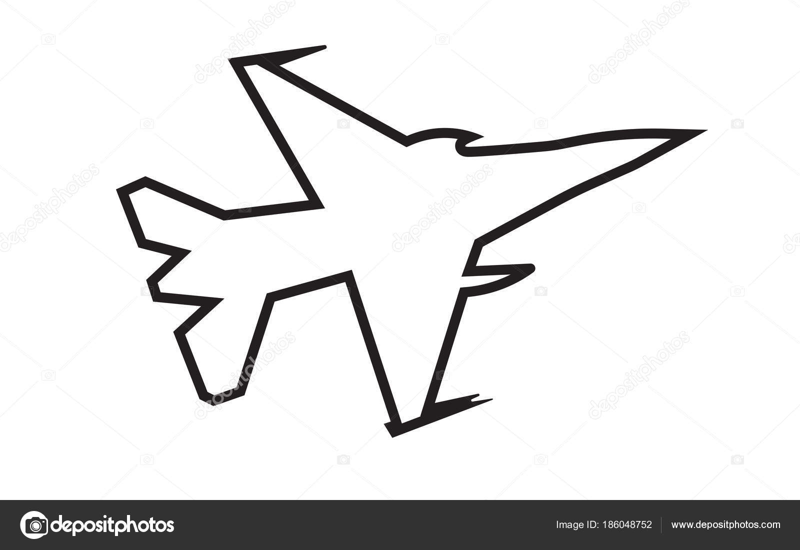 F16 Sylwetka Kontur Na Bia Ym Tle