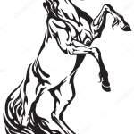 Stallion Tattoo Horse Tribal Tattoo Stallion Rearing Black White Vector Illustration Stock Vector C Insima 181713632