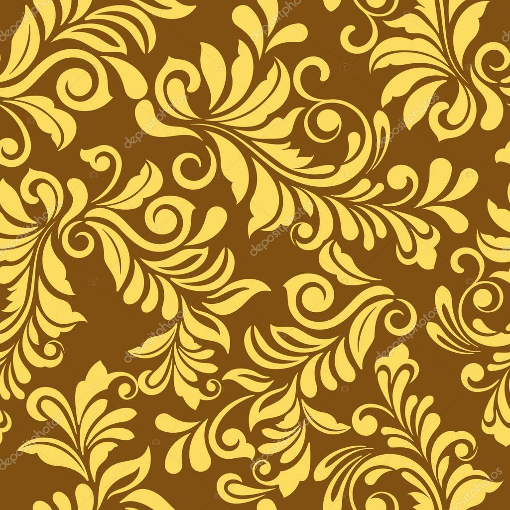 Seamless Golden Floral Vector Wallpaper Pattern Seamless Wrapping Paper Textile Or Upholstery Flower Print Premium Vector In Adobe Illustrator Ai Ai Format Encapsulated Postscript Eps Eps Format