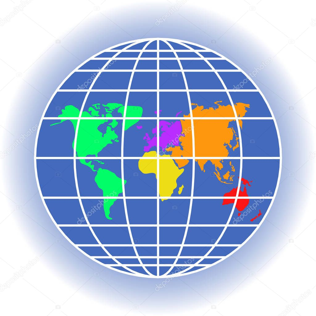 Planet Earth With Continents Meridians Latitudes