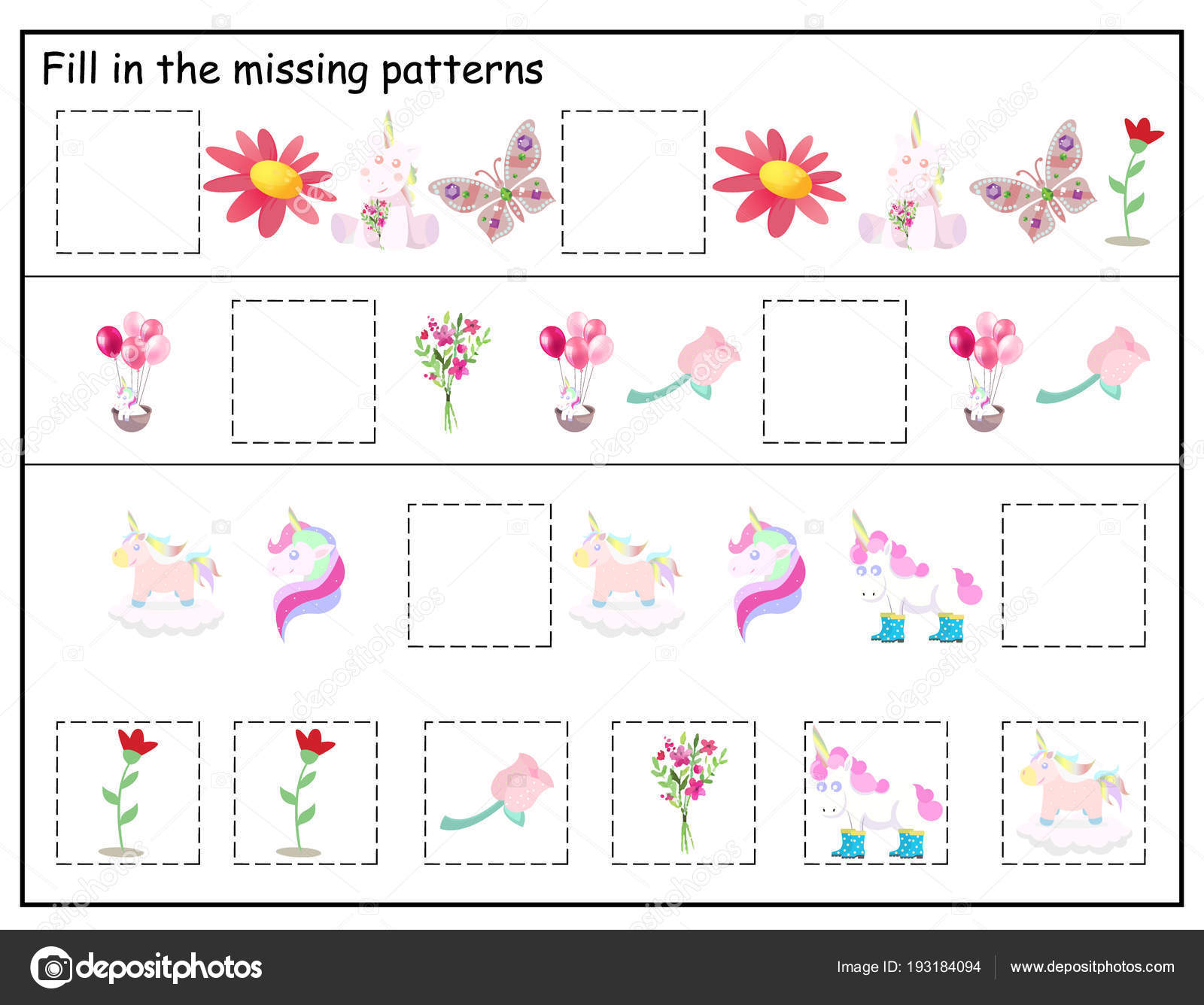 Logic Kindergarten Worksheet Kids Printable Game Funny Unicorns Flowers Butterfly