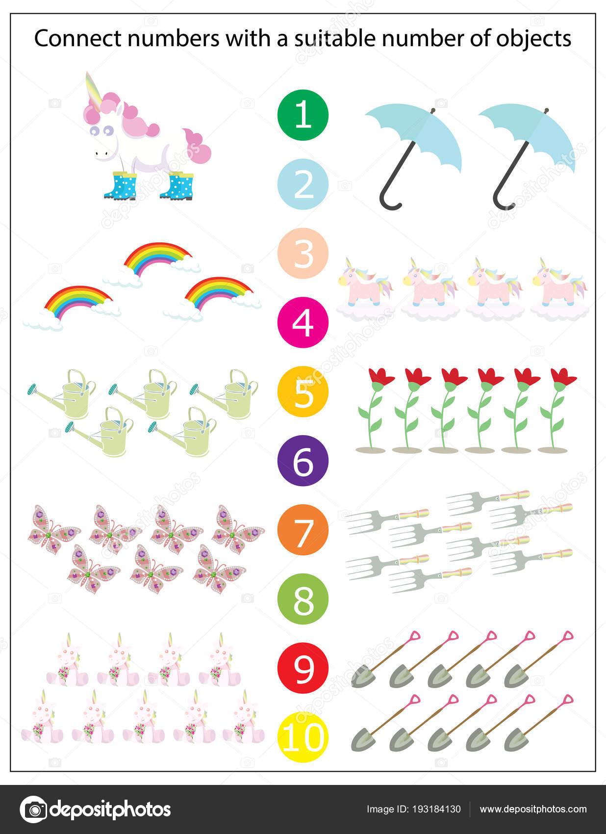 Preschool Worksheet Gallery Kindergarten Unicorn Math