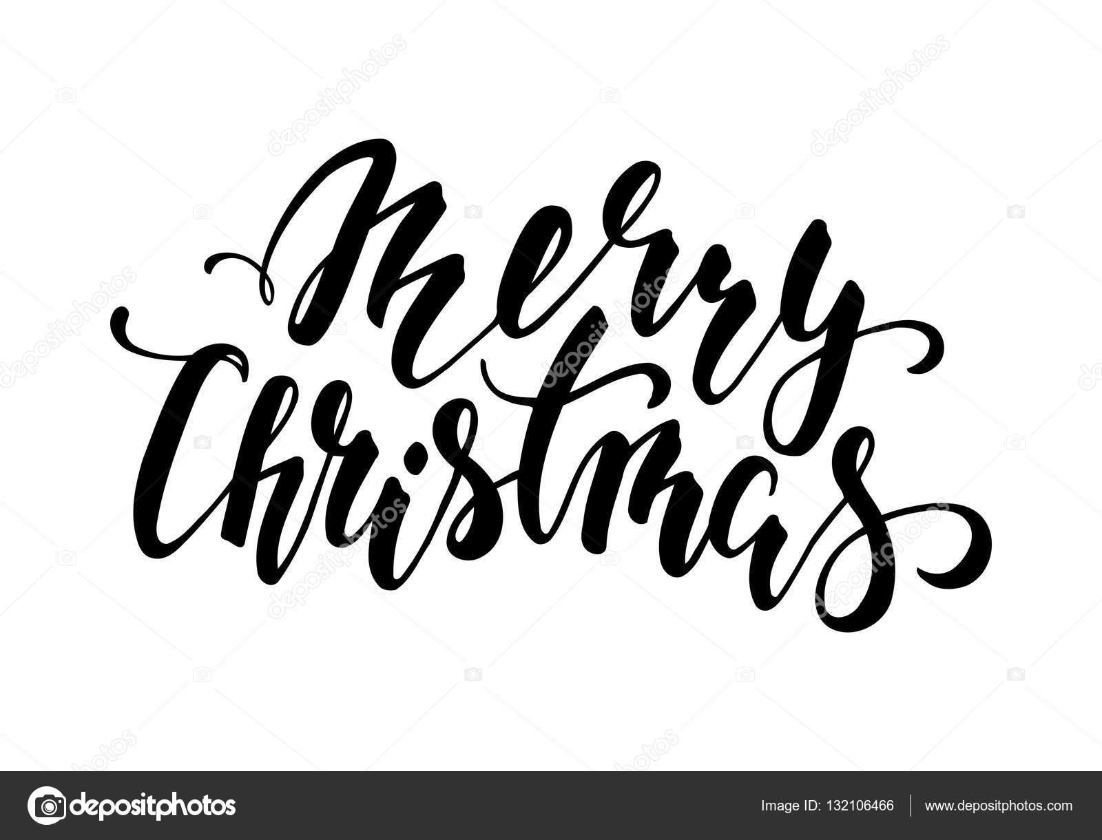 Feliz Navidad Mano Dibuja Letras De Lapiz Caligrafia Y