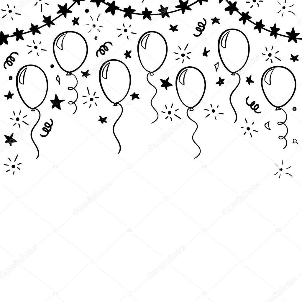 R Cznie Rysowane Doodle Czarno Bia Y Balon Projektowanie