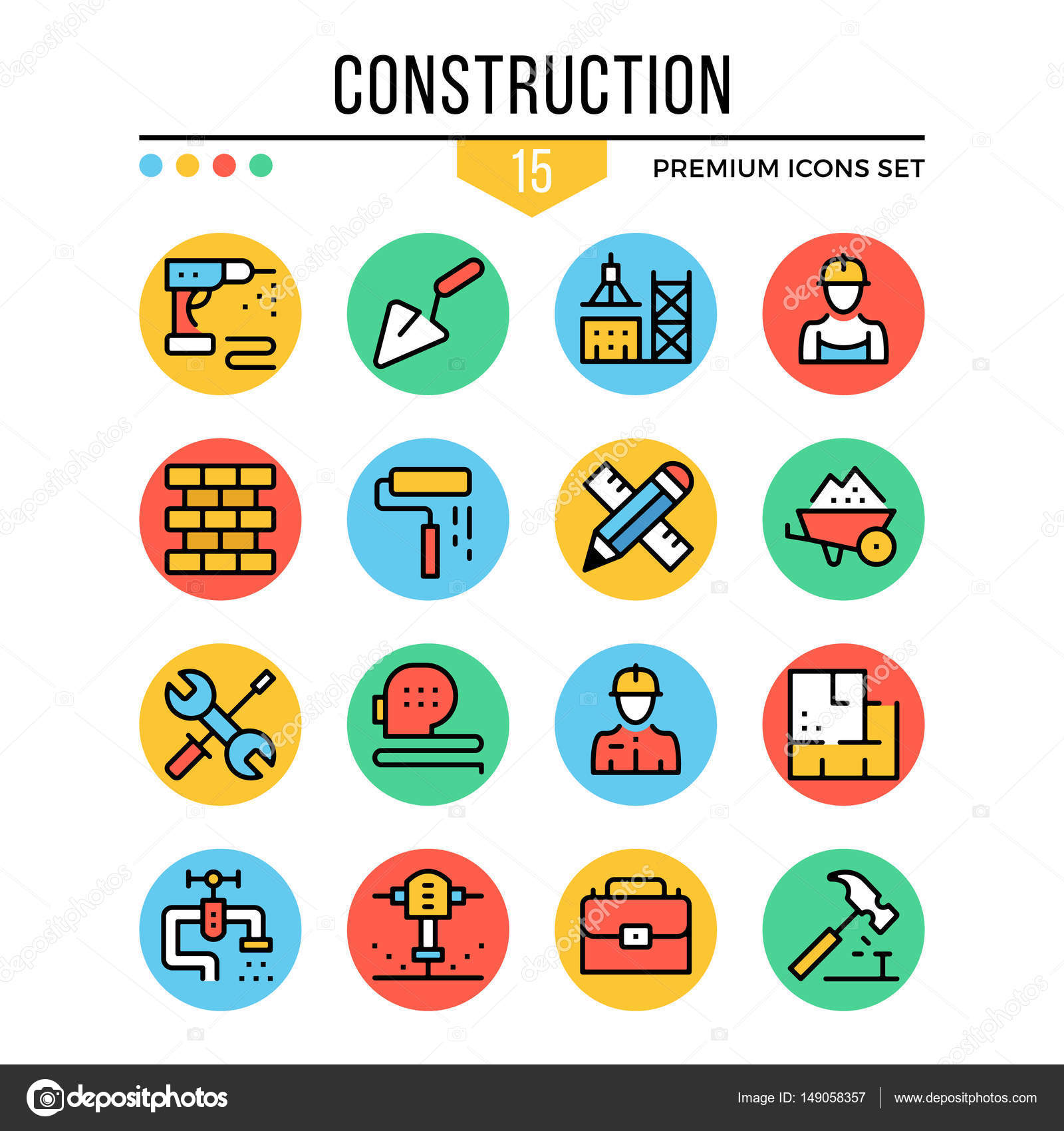 Construction Icons Modern Thin Line Icons Set Premium