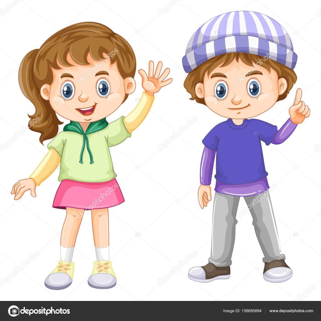 Joli Garcon Et Fille Avec Visage Heureux