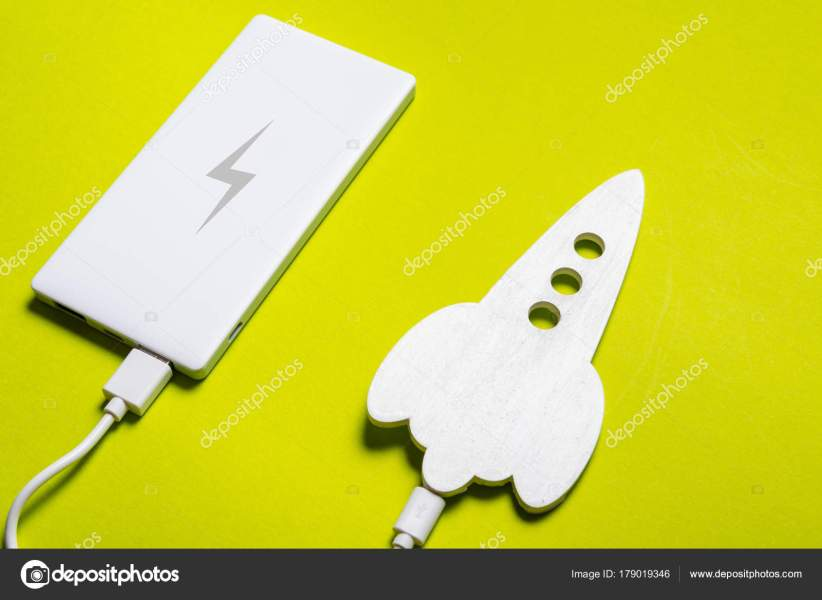 Space rocket filling with electric power bank     Stock Photo      Yumis     Space rocket filling with electric power bank     Stock Photo