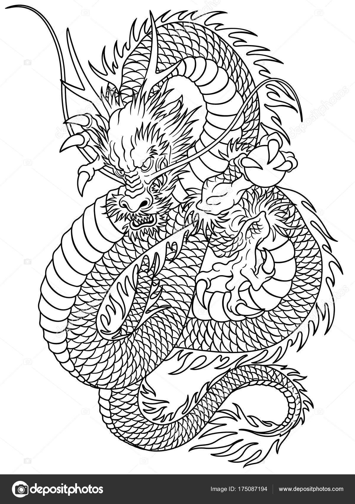 Japanese Style Dragon Illustration Designed Oriental