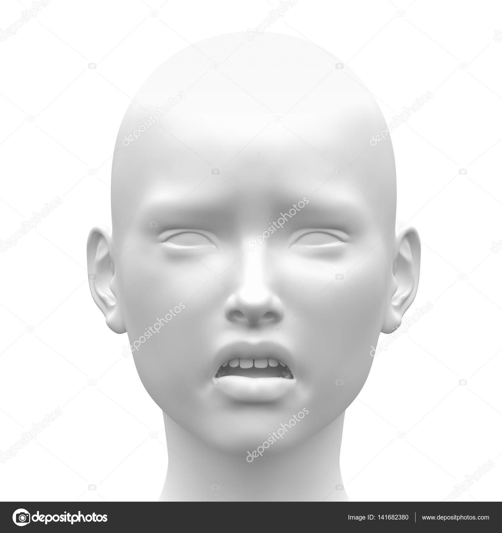 Blank White Female Sad Face Emotion