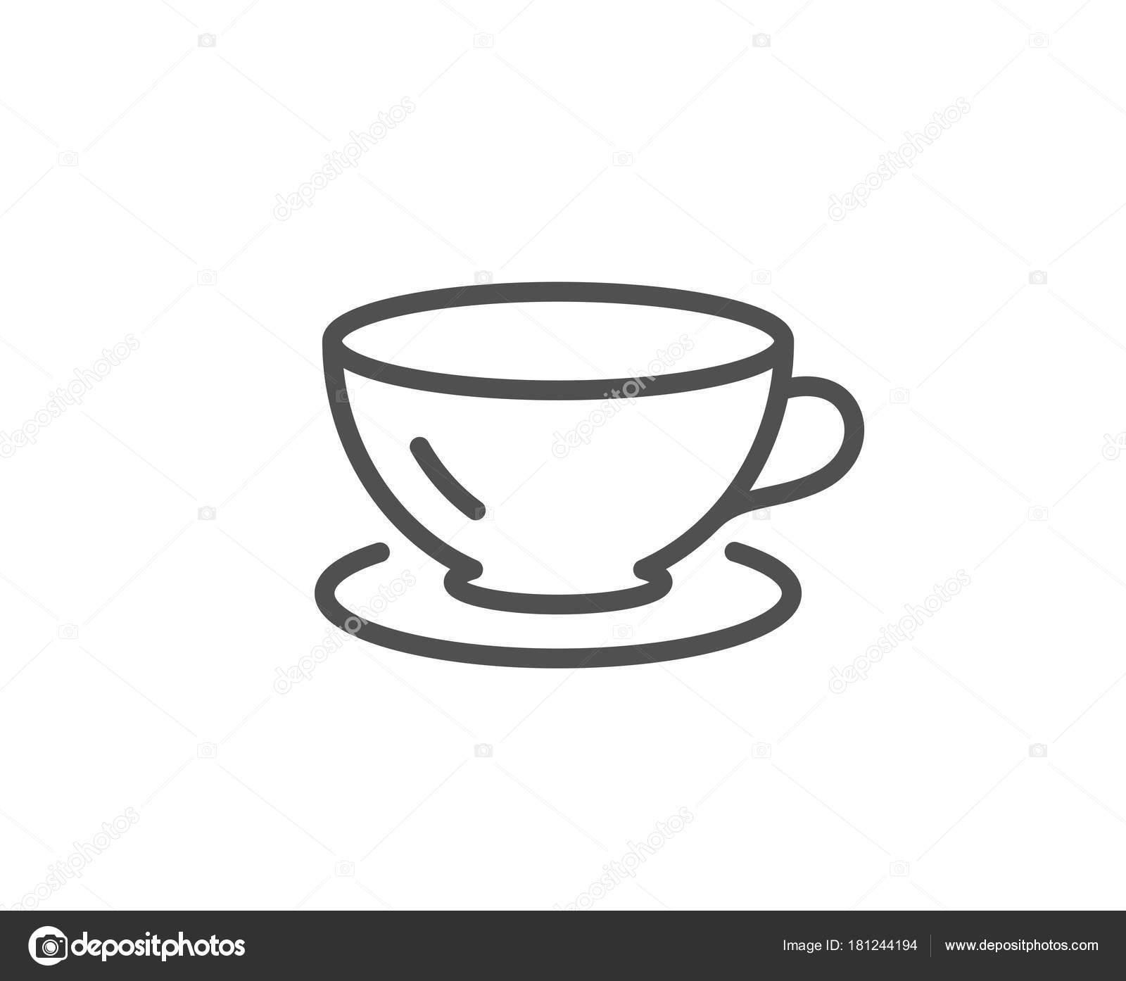 Tea Cup Line Icon Coffee Drink Sign Fresh Beverage Symbol