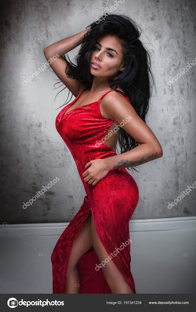 Elegant Sexy Lady In Red Dress Stock Photo