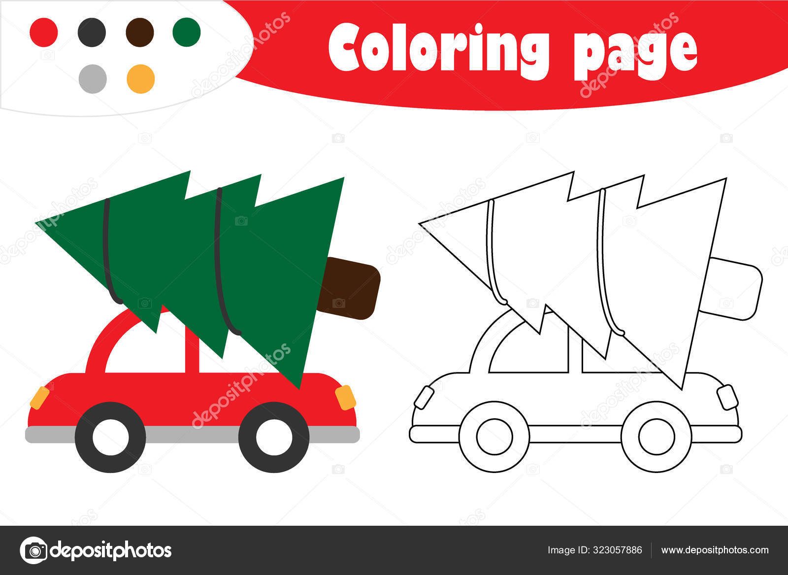 Fir Tree On Car Style Christmas Coloring Page