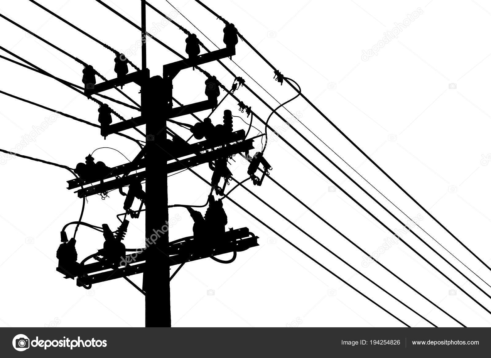 Silhouette Electric Pole Or Electricity Post Isolated On