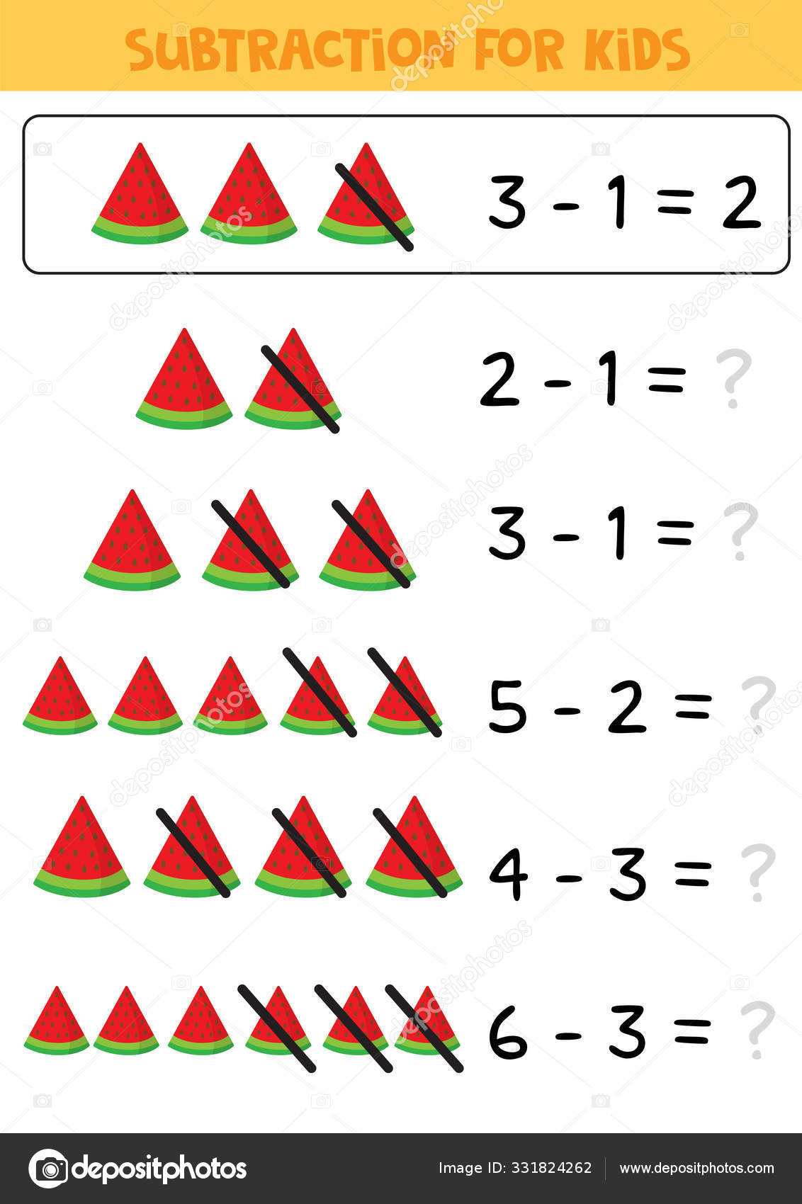 Educational Math Children Game Subtraction For Kids