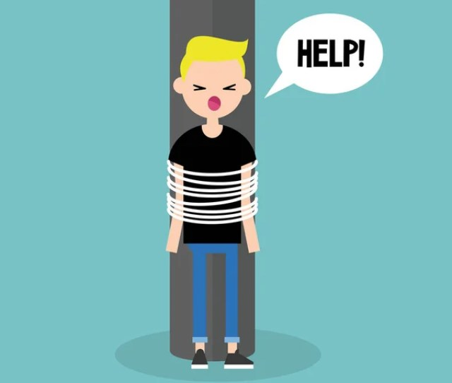 Young Tied Up Character Calling For Help Flat Editable Vector Stock Vector