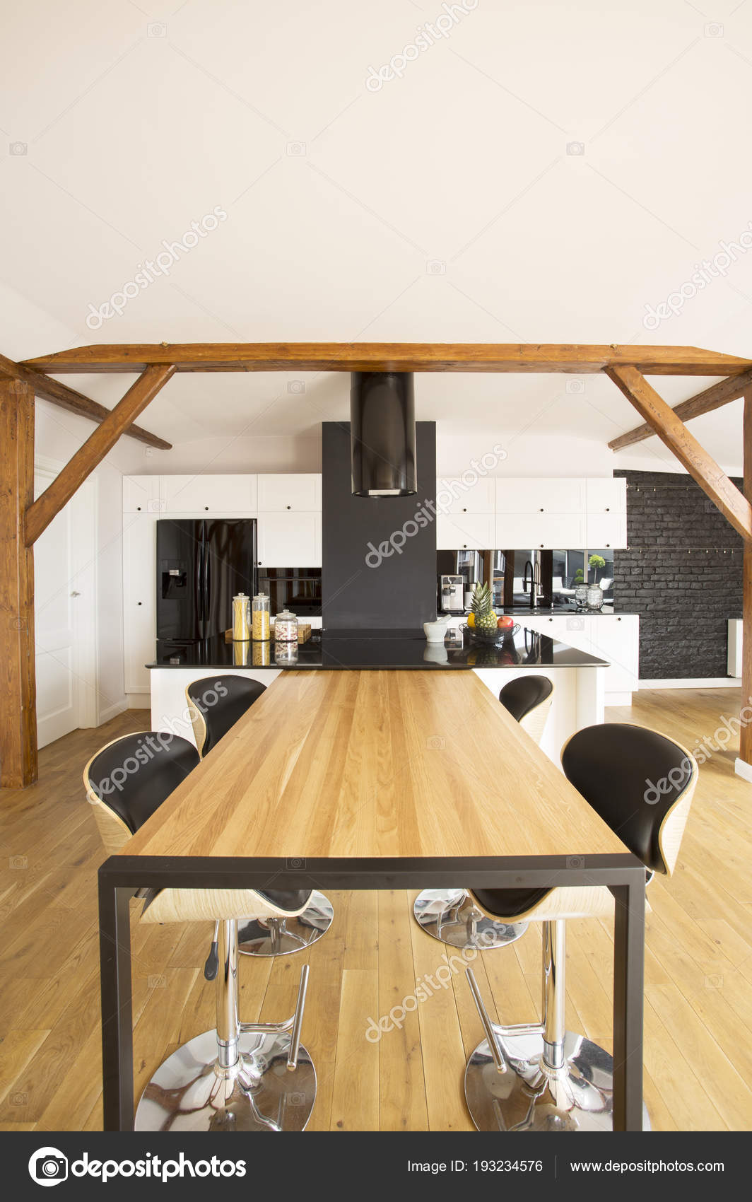 Bar Stools Wooden Table Spacious Kitchen Interior Black Countertop White Stock Photo C Photographee Eu 193234576