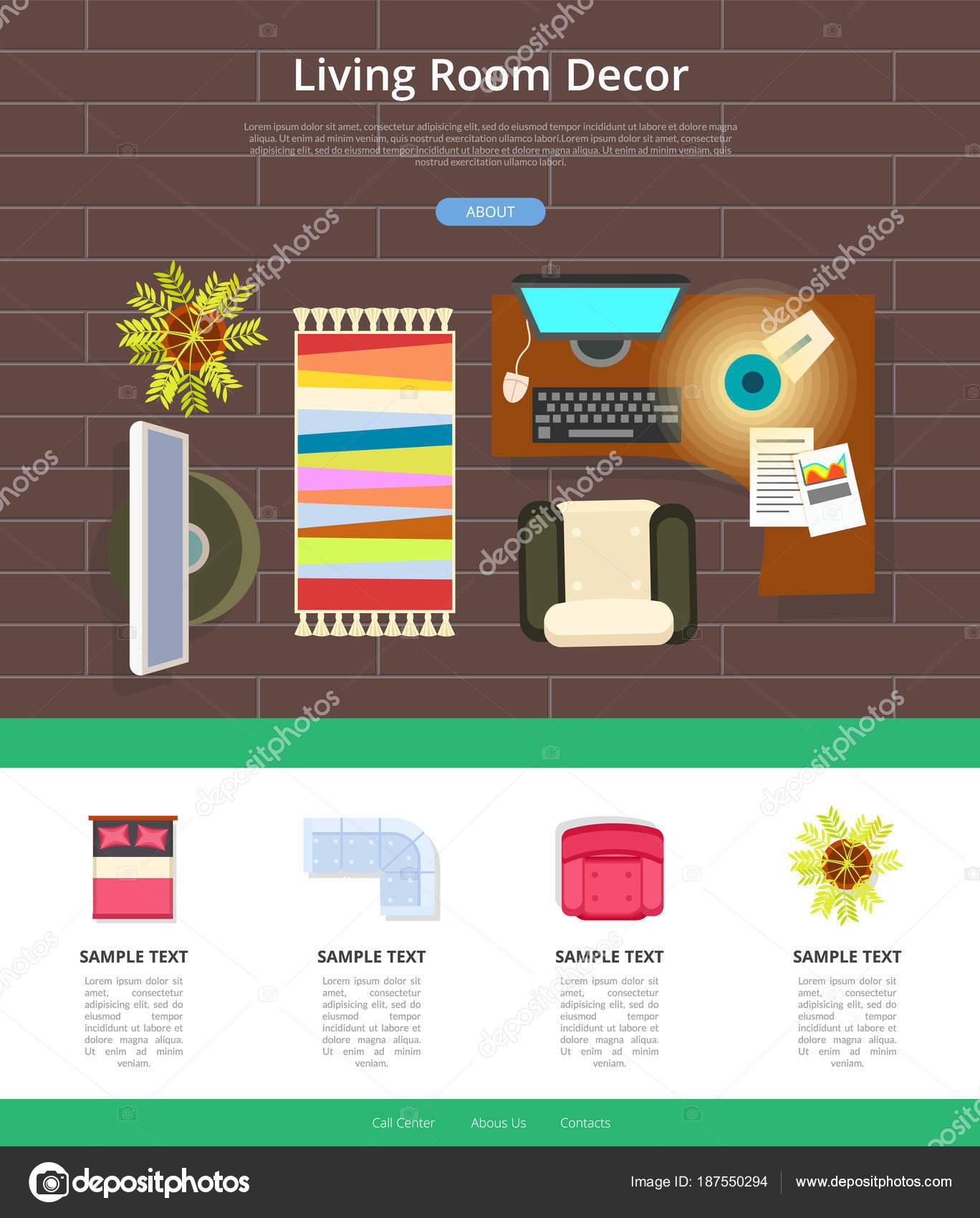 Living Room Decor Web Sample Vector Illustration Stock