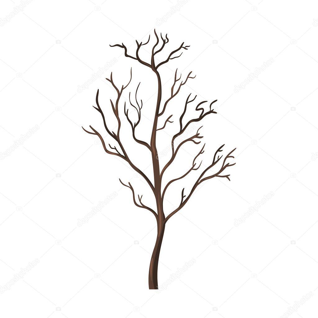 Single Cartoon Brown Bare Tree