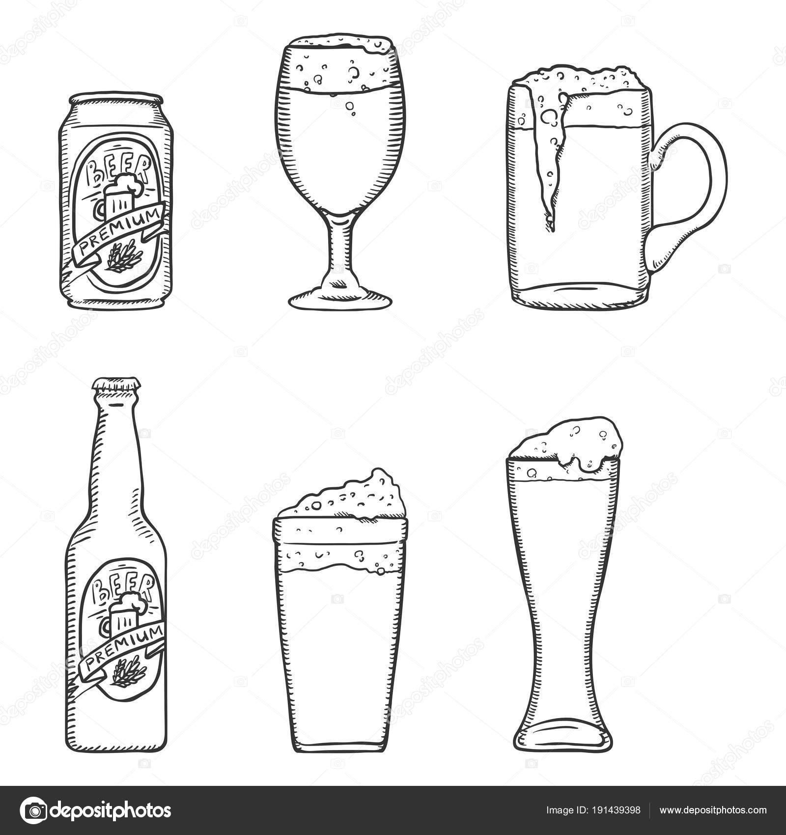 Vector Sketch Set Beer Glasses Bottle Can Outline
