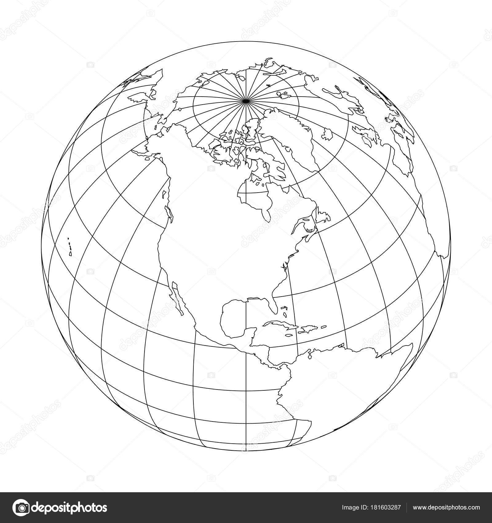 Outline Earth Globe With Map Of World Focused On North
