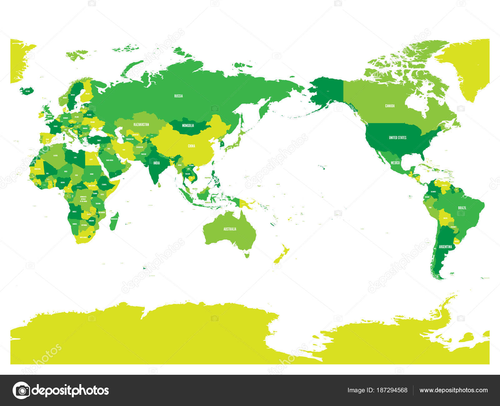 World Map In Four Shades Of Green On White Background
