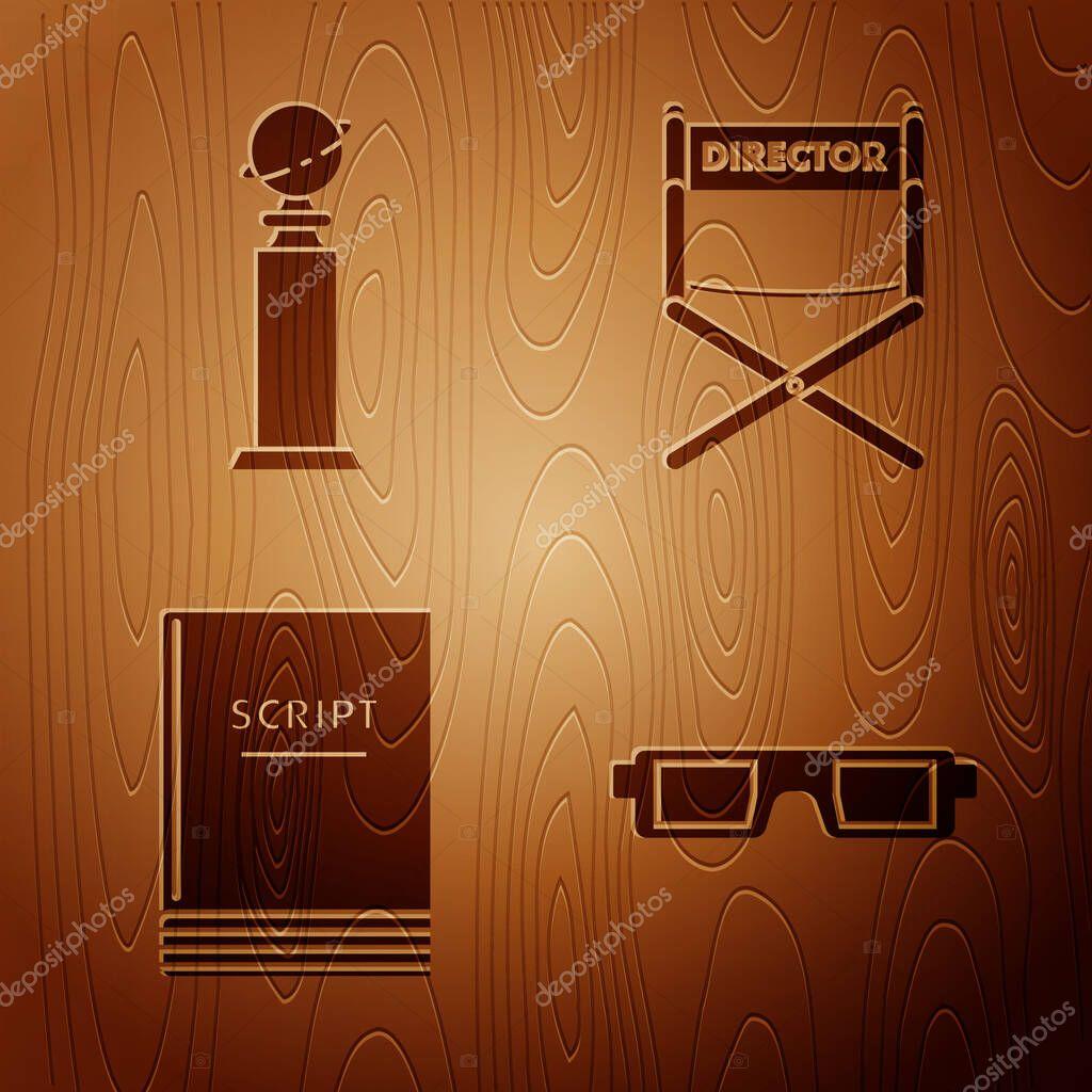 Set 3d Cinema Glasses Trophy Golden Globe Scenario And Director Movie Chair On Wooden Background Vector Premium Vector In Adobe Illustrator Ai Ai Format Encapsulated Postscript Eps Eps Format