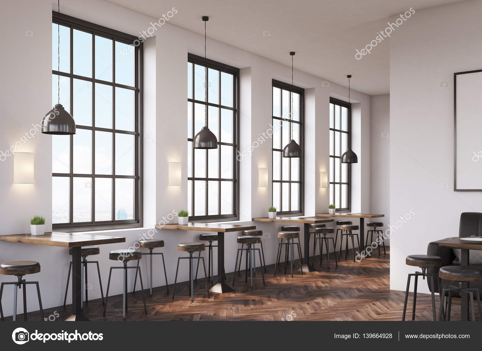 Coffee Shop Interior With A Large Sofa Near A White Wall A Row Of Tables With