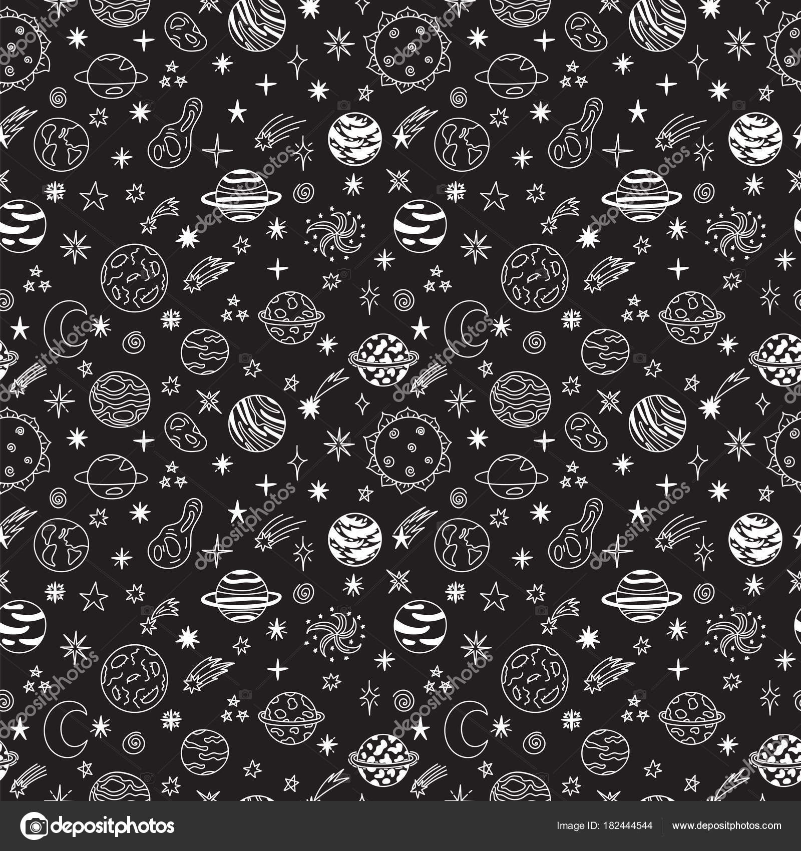 Doodle Space Seamless Pattern Cute Hand Drawn Childish