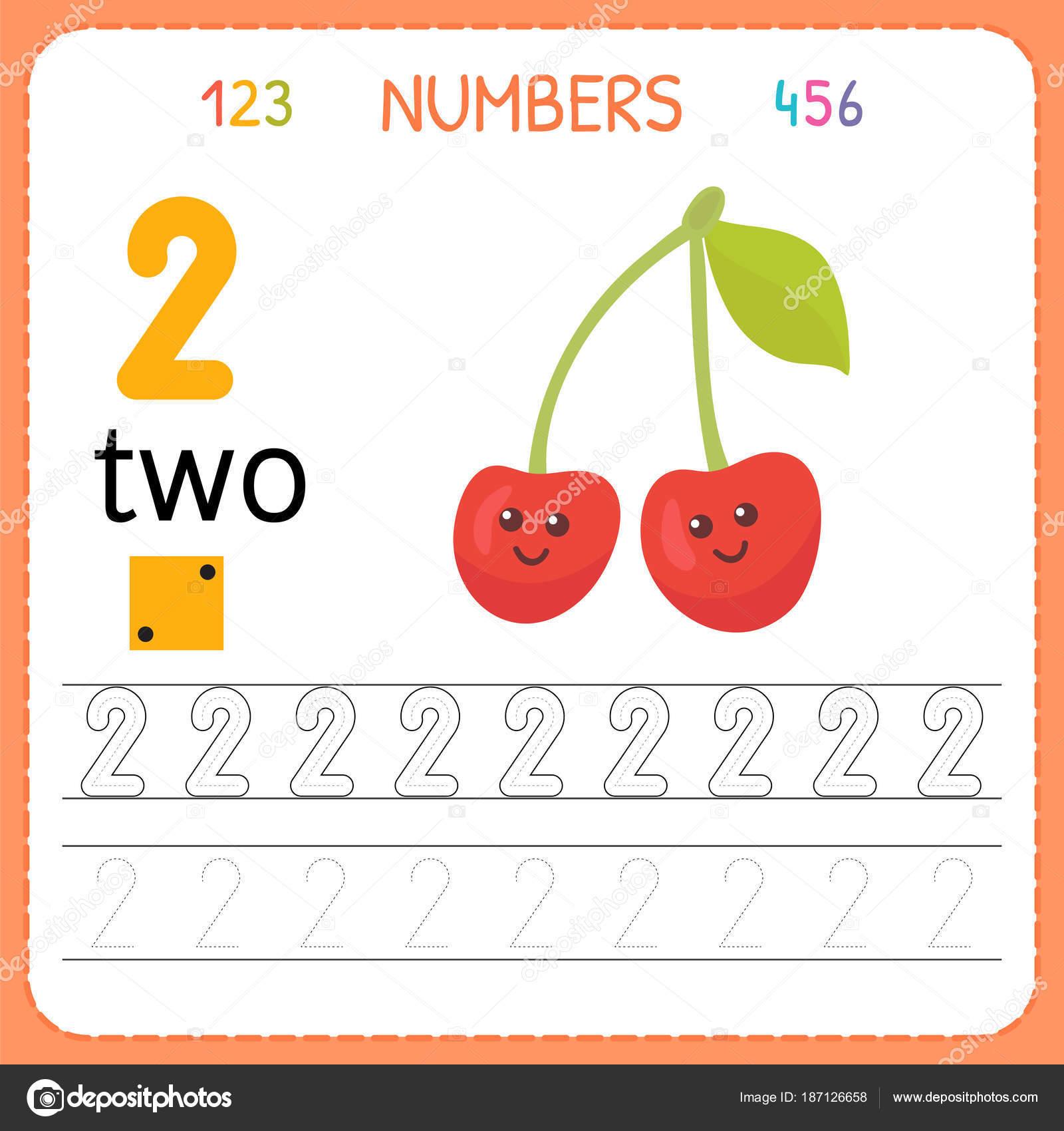 Hoja De Trabajo De Seguimiento Numeros Para Preescolar Y Kindergarten Escritura Numero Dos