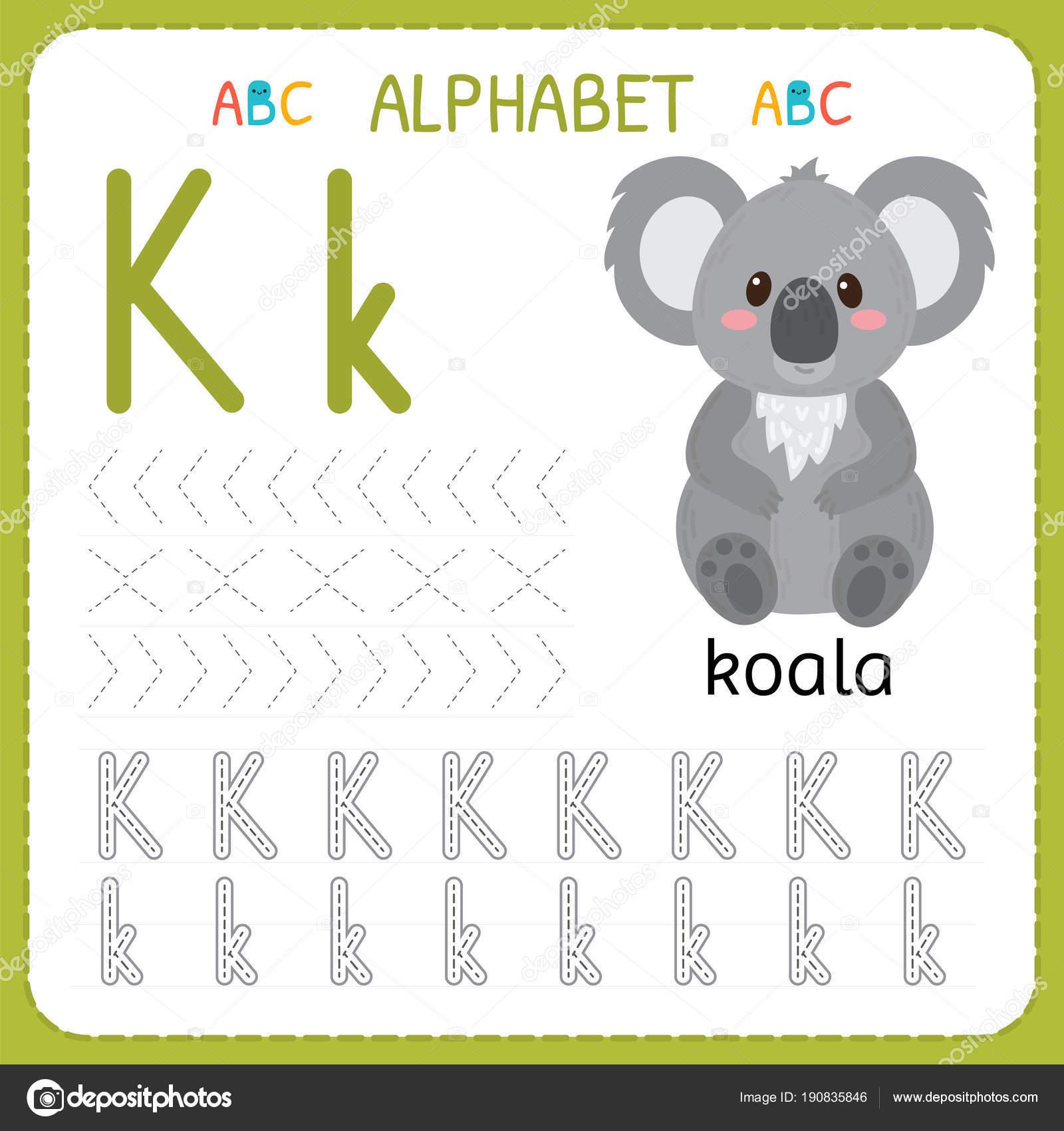 Hoja De Trabajo De Seguimiento Alfabeto Para Preescolar Y Kindergarten Letra K Ejercicios De