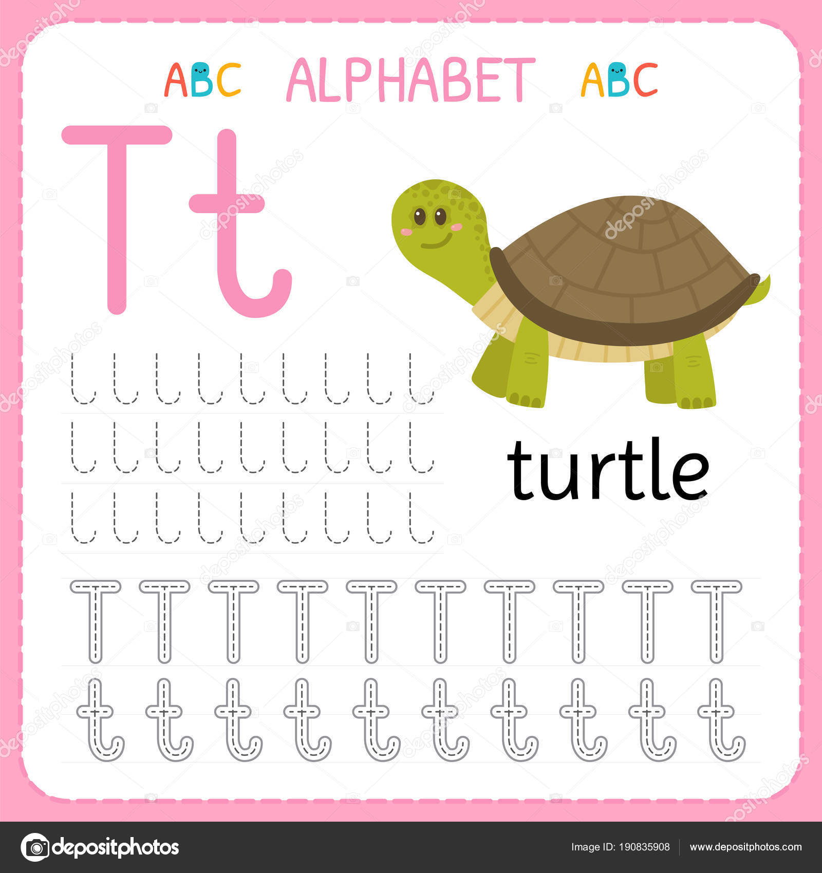 Alphabet Tracing Worksheet For Preschool And Kindergarten Writing Practice Letter T Exercises
