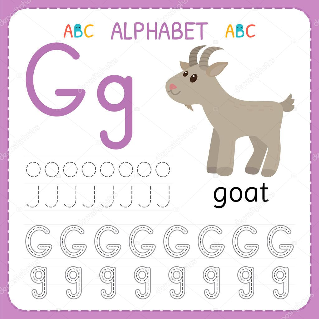 Alphabet Tracing Worksheet For Preschool And Kindergarten Writing Practice Letter G Exercises