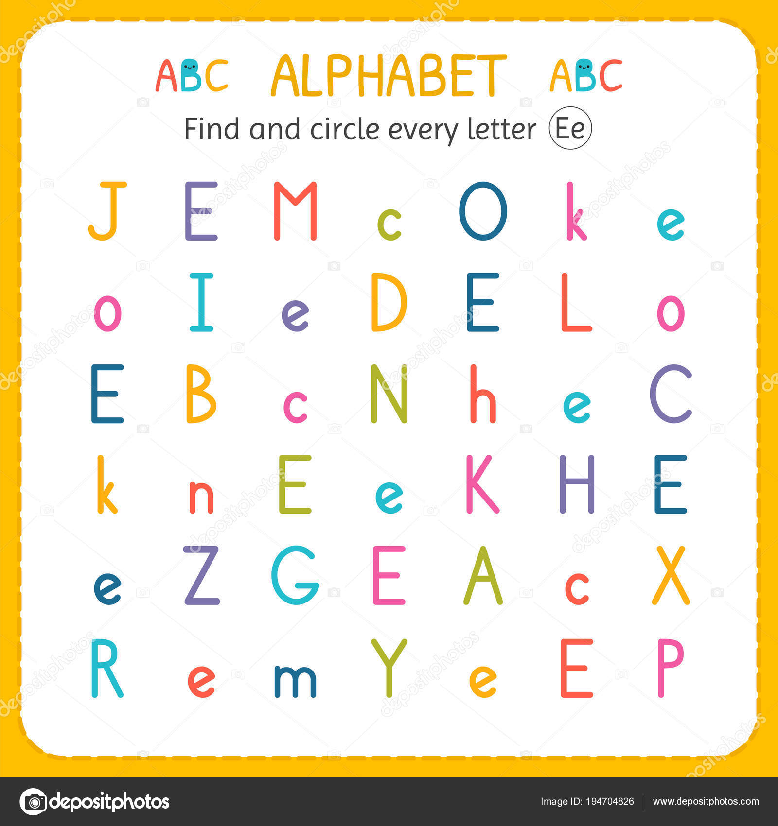 Find And Circle Every Letter E Worksheet For Kindergarten And Preschool Exercises For Children