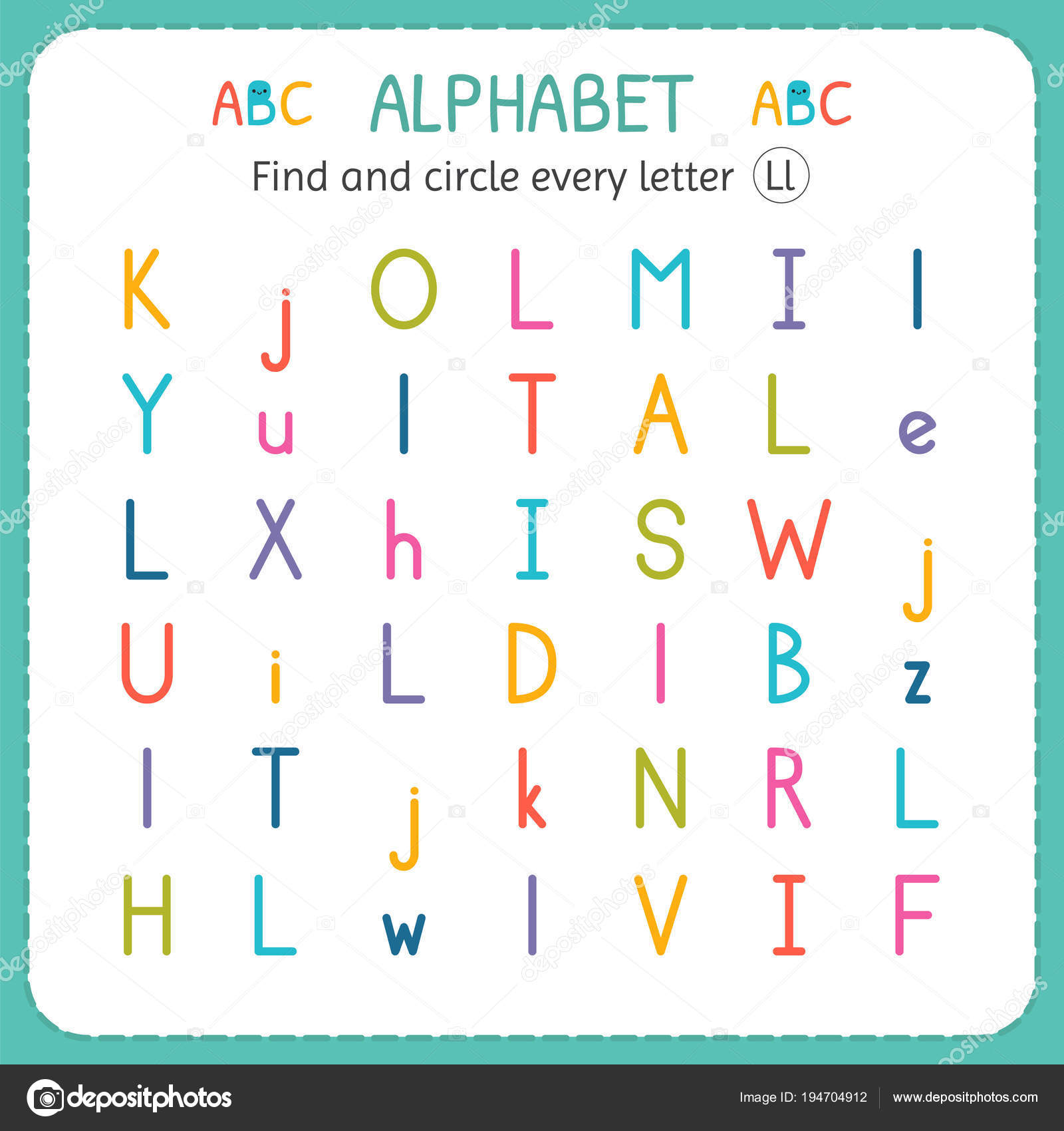 Find And Circle Every Letter L Worksheet For Kindergarten