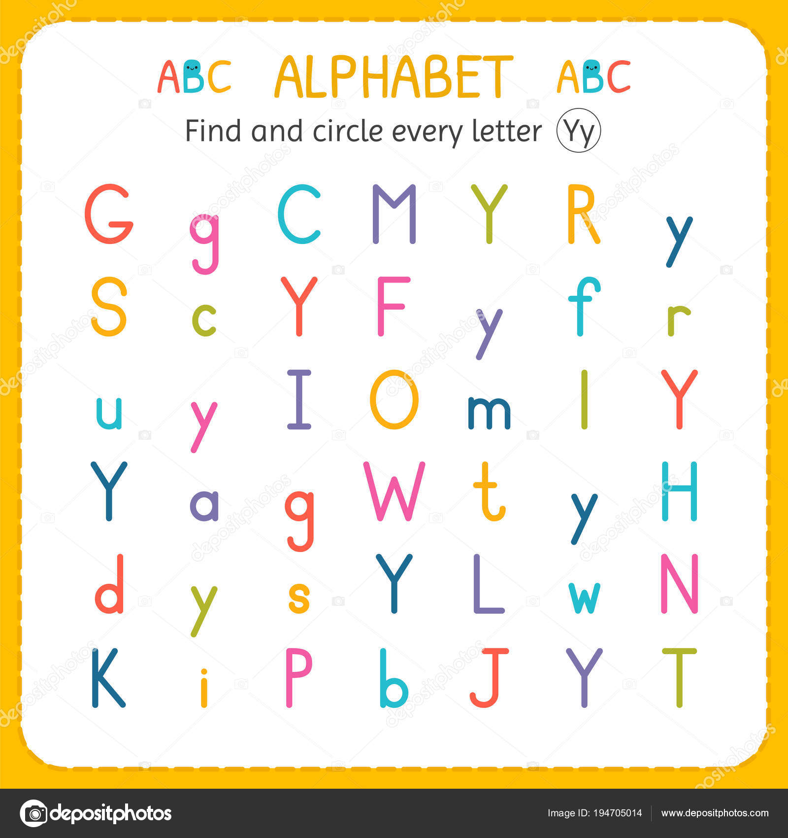 Find And Circle Every Letter Y Worksheet For Kindergarten