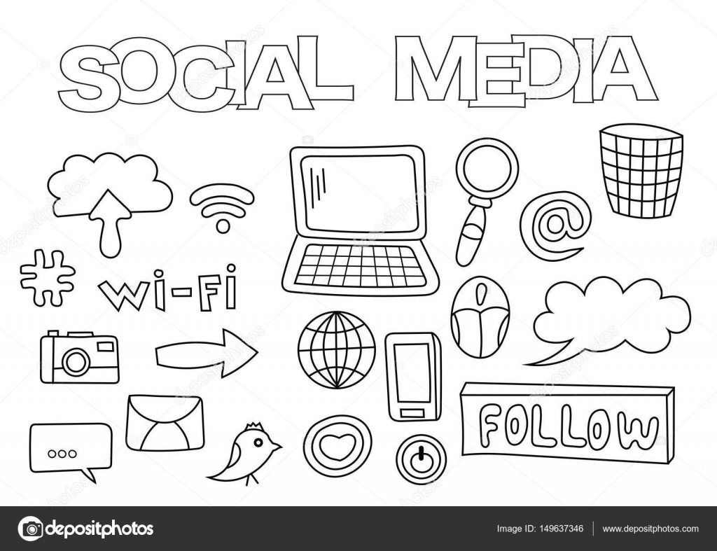 Social Media Elements Hand Drawn Set Coloring Book