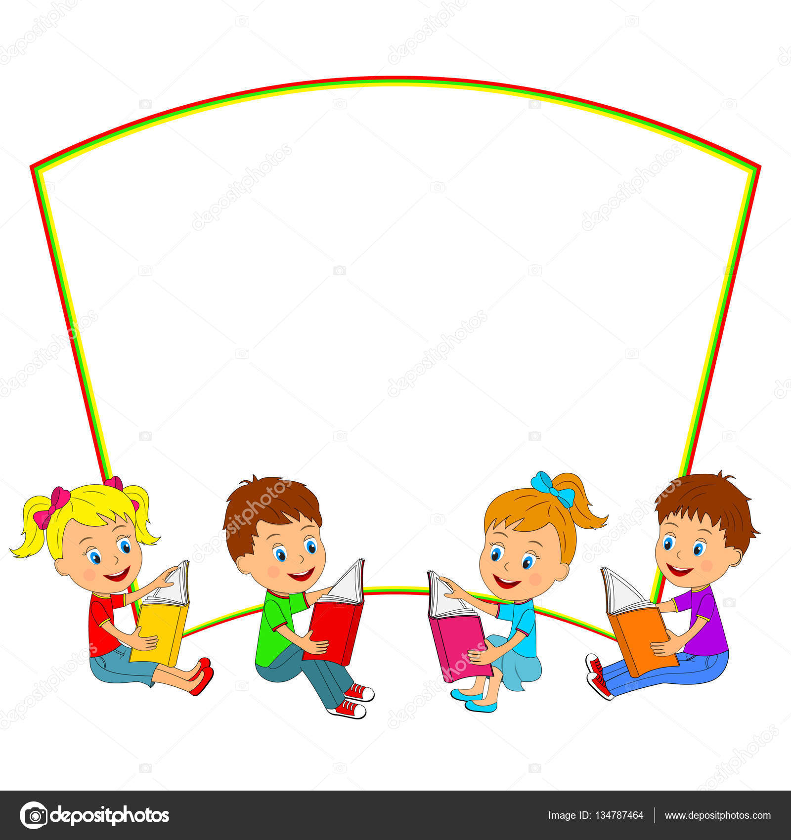 Kids Read Books And Frame