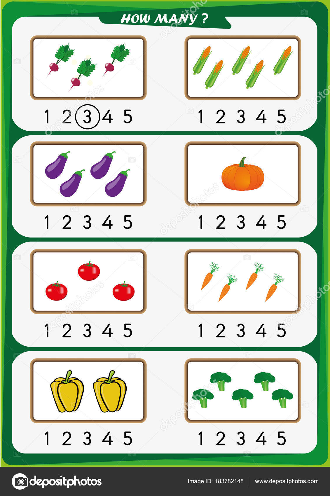 Worksheet For Kindergarten Kids Count The Number Of Objects Learn The Numbers 1 2 3 4 5