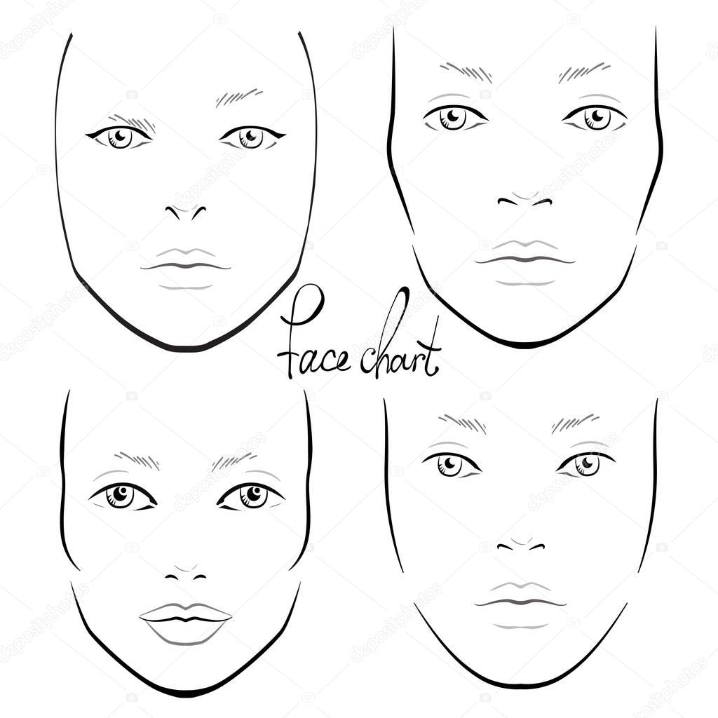 Gesicht Diagramm Make Up Artist Leer Vorlage Vektor