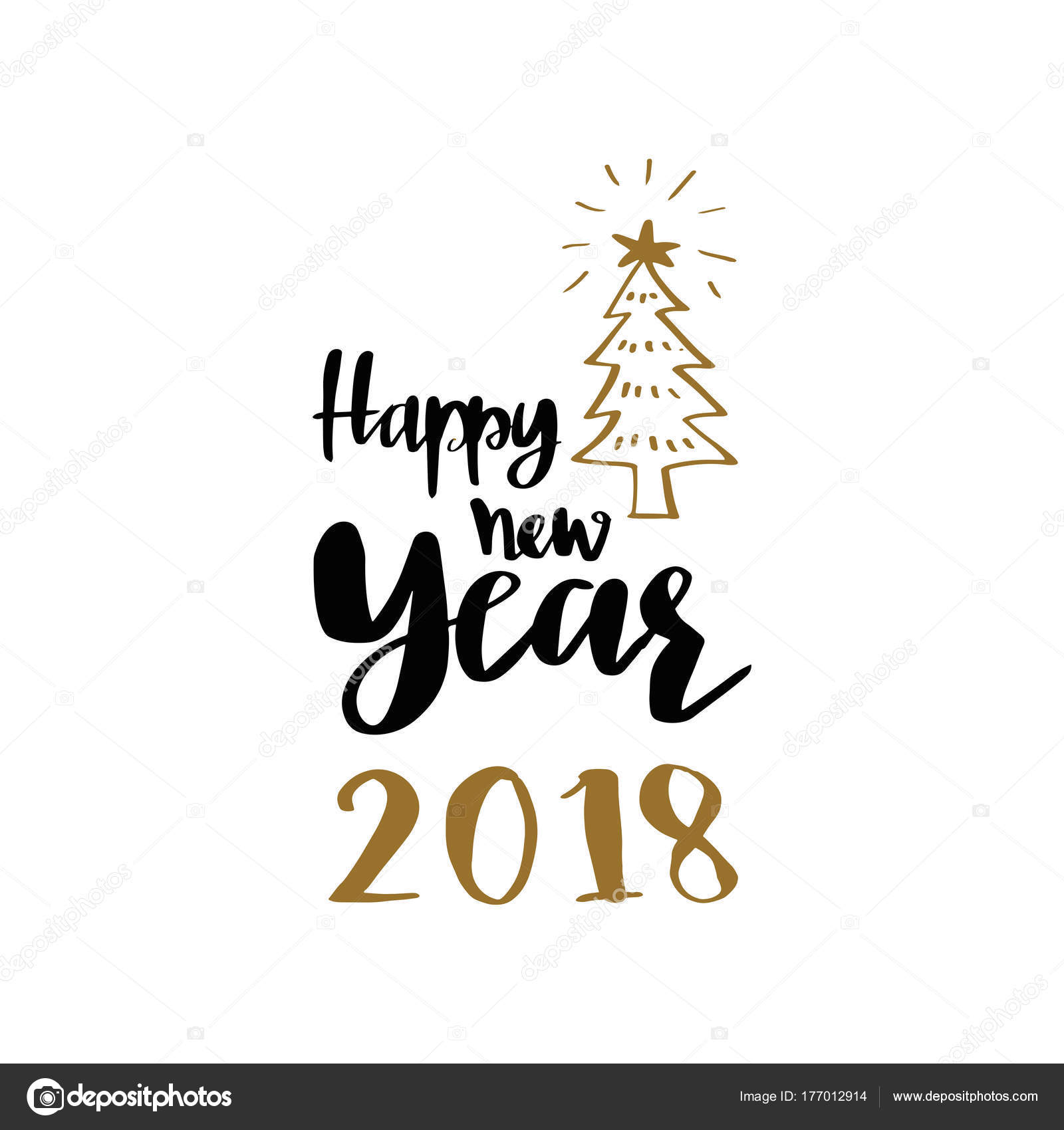 Christmas tree and Happy new year 2018 lettering calligraphy     Christmas tree and Happy new year 2018 lettering calligraphy  illustration  vector greeting and invitation card