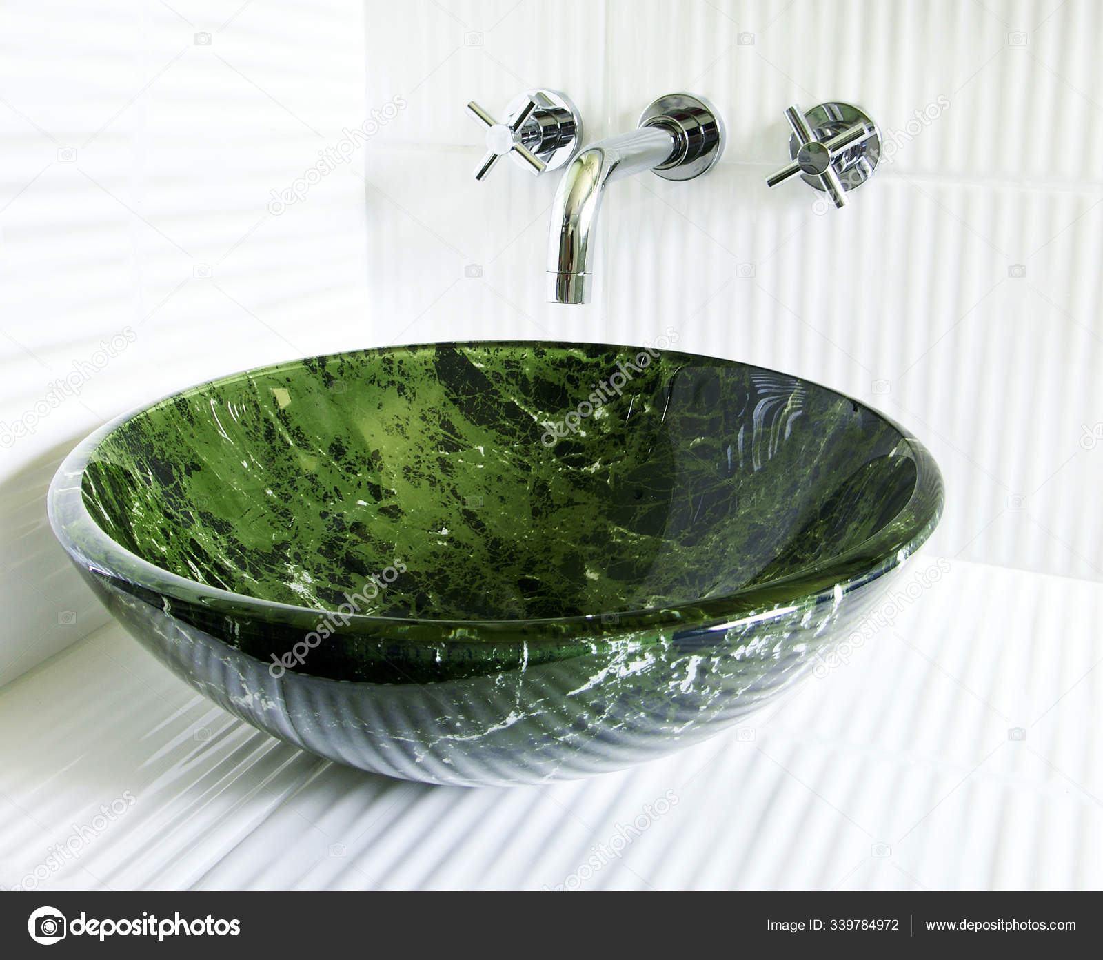 modern renovated bathroom tempered glass green marble imitation vessel sink stock photo image by c panthermediaseller 339784972