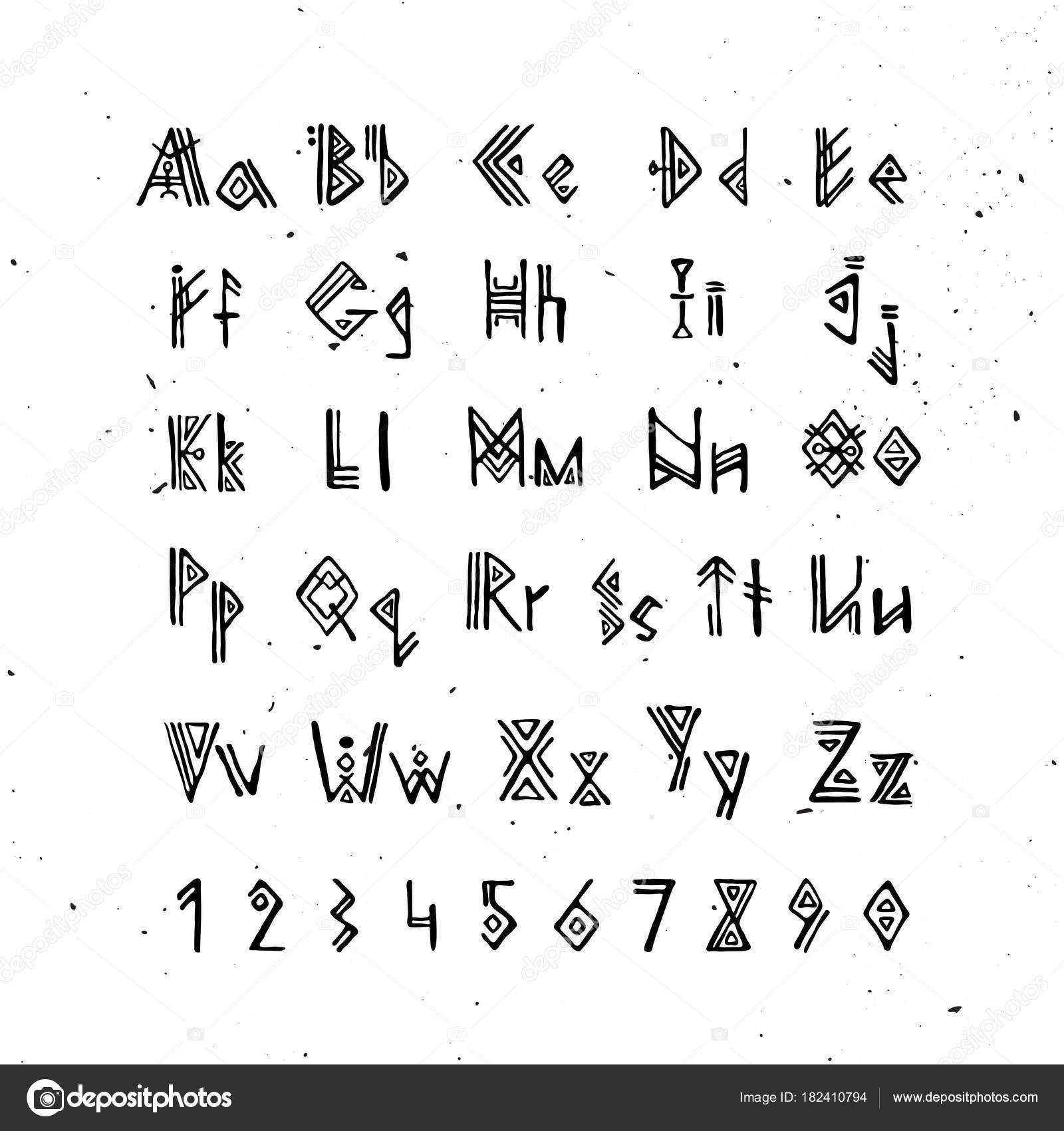 Oudnoors Scandinavische Lettertype Alfabet Van De Runen