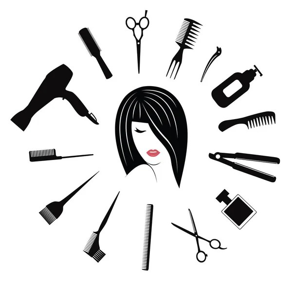 hairdressing equipment  with woman face avatar  Stock