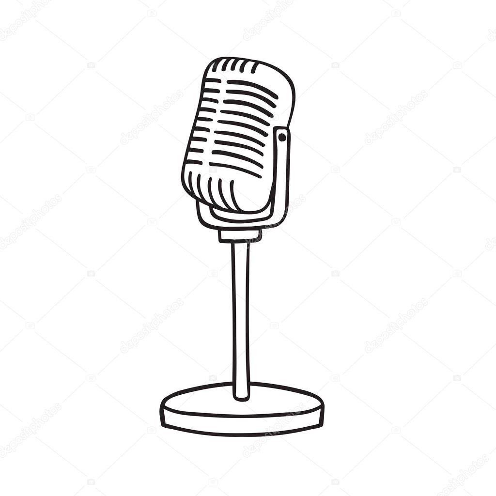 Microfono Antiguo Aislado Sobre Fondo Blanco Vector