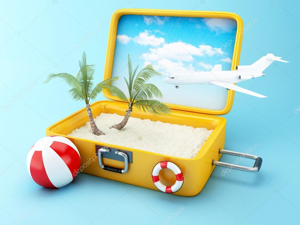 Travel suitcase. beach vacation concept — Stock Photo ...